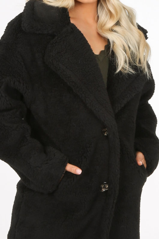 Longline Black Borg Teddy Coat