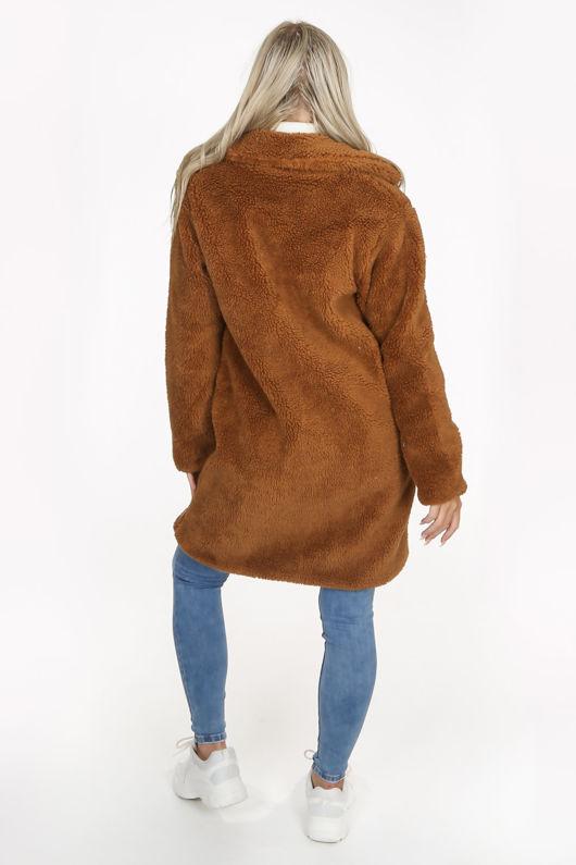 Camel Over-Sized Borg Teddy Coat