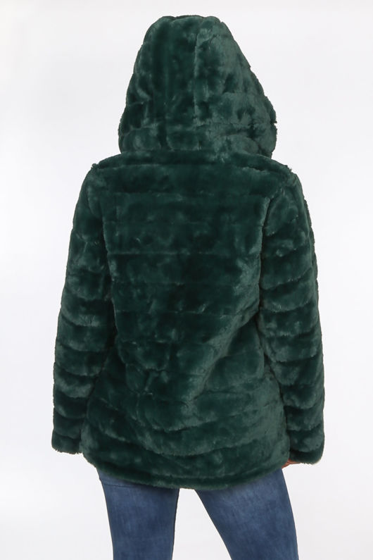 Teal Faux Fur Hooded Jacket