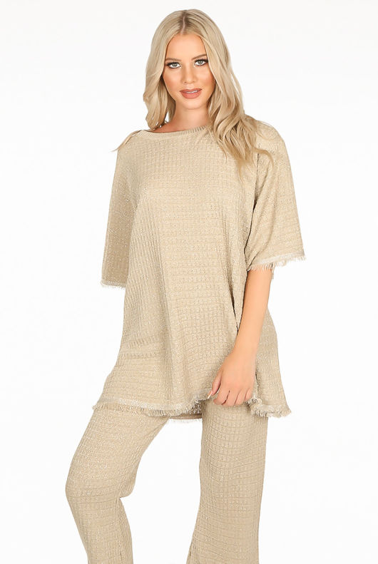 Beige Oversized Knitted Loungewear