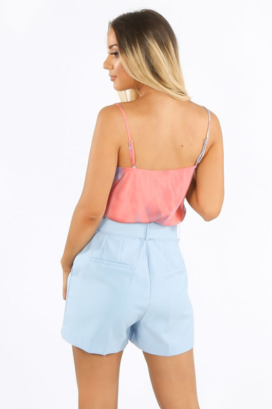 Pink Tie Dye Cowl Neck Cami Top