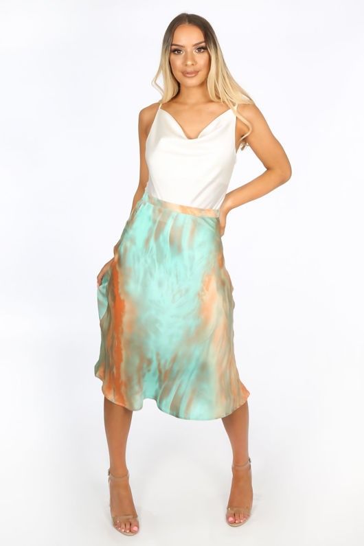 Green Tie Dye Satine Bias Cut Midi Skirt