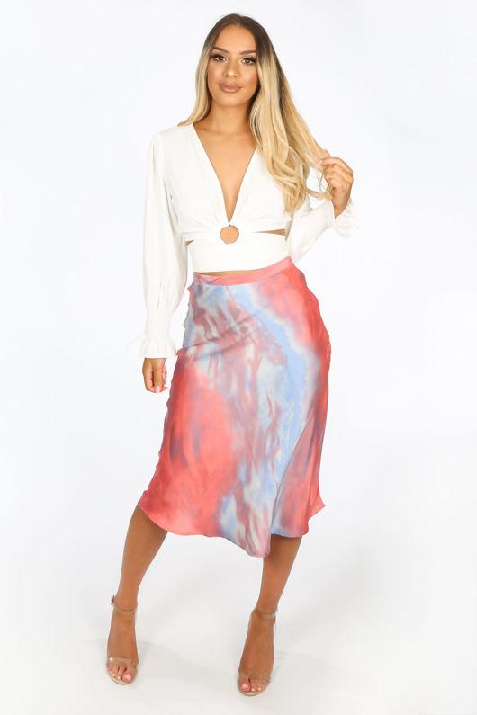 Pink Tie Dye Satine Bias Cut Midi Skirt