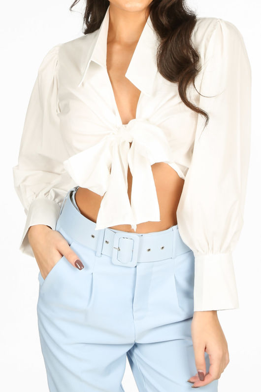 White Tie Front Cropped Shirt