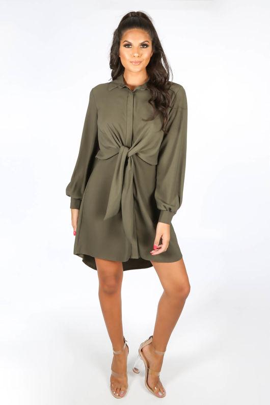 Tie Front Shirt Dress In Khaki