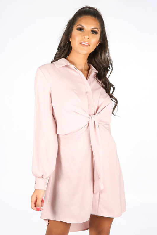 Tie Front Shirt Dress In Dusky Pink