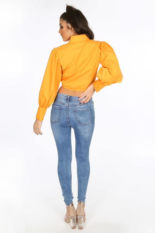 Orange Tie Front Cropped Shirt