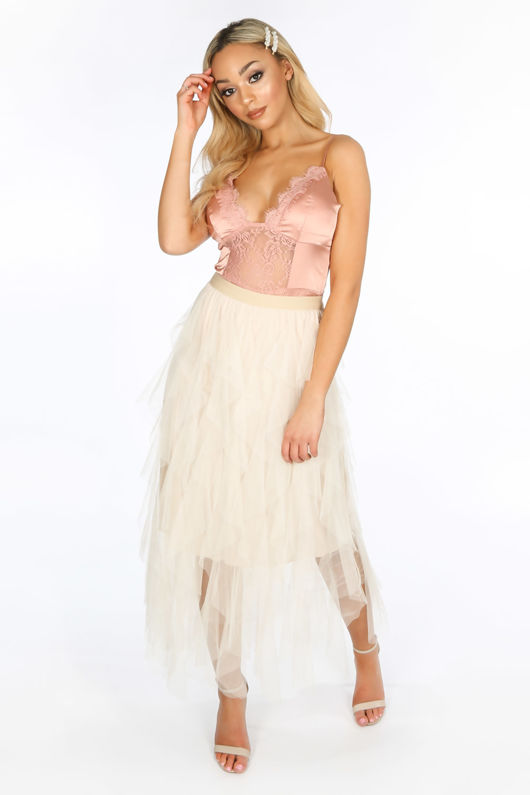 Beige Ruffle Draped Midi Tulle Skirt