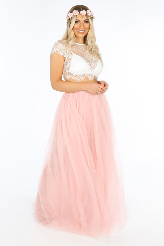 Full Length Maxi Tulle Skirt In Pink