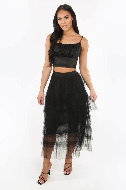 Black Draped Midi Tulle Skirt