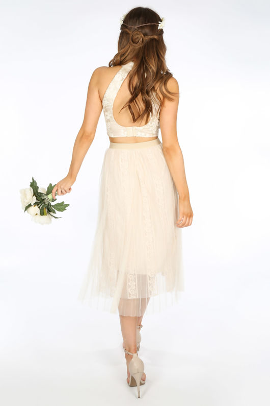 Bridal CreamPleated Lace Tulle Skirt
