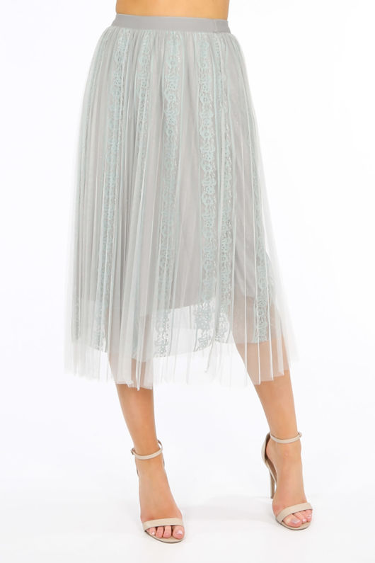 Bridal Grey Pleated Lace Tulle Skirt
