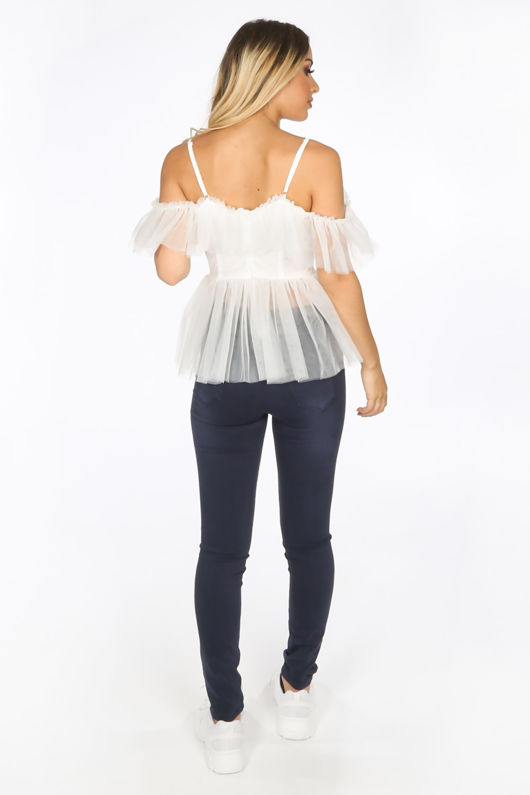 White Cold Shoulder Peplum Tulle Top