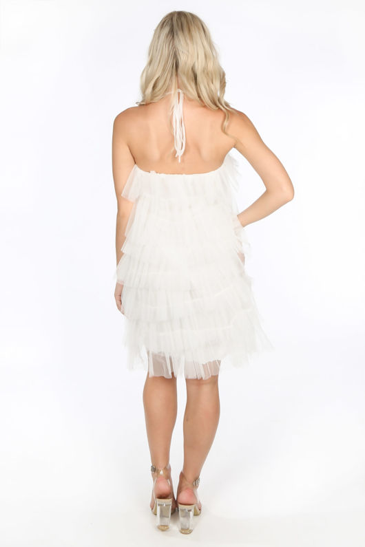 White Layered Tulle Halter Neck Dress
