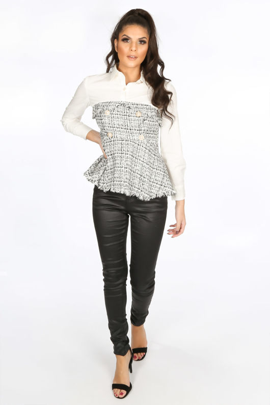 Black Tweed Peplum Shirt