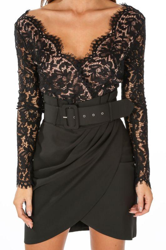 Black V Neck Contrast Lace Long Sleeve Bodysuit
