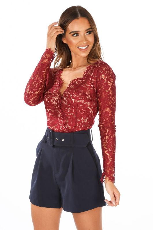 Burgundy V Neck Contrast Lace Long Sleeve Bodysuit