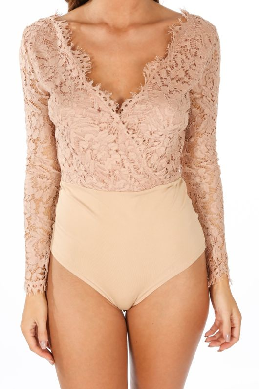Nude V Neck Contrast Lace Long Sleeve Bodysuit