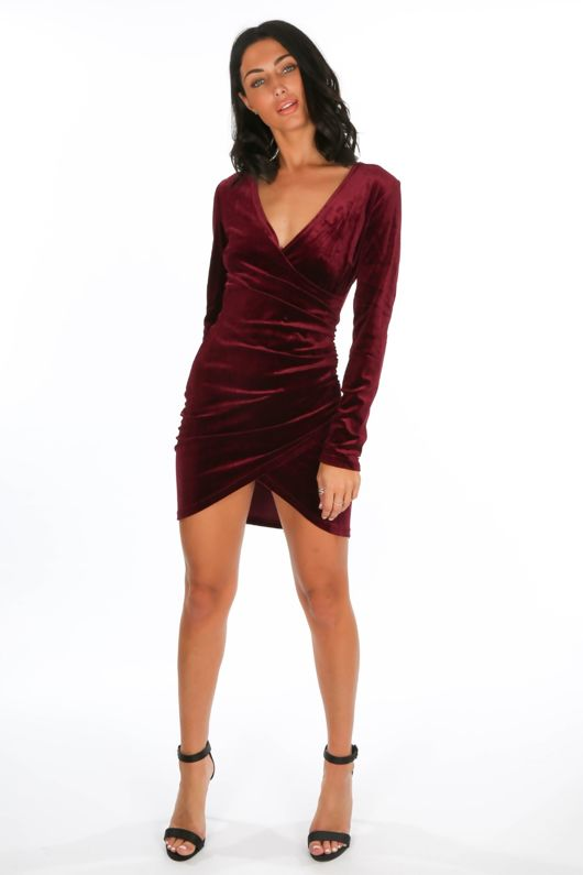Velvet Long Sleeve Wrap Over Mini Dress In Wine