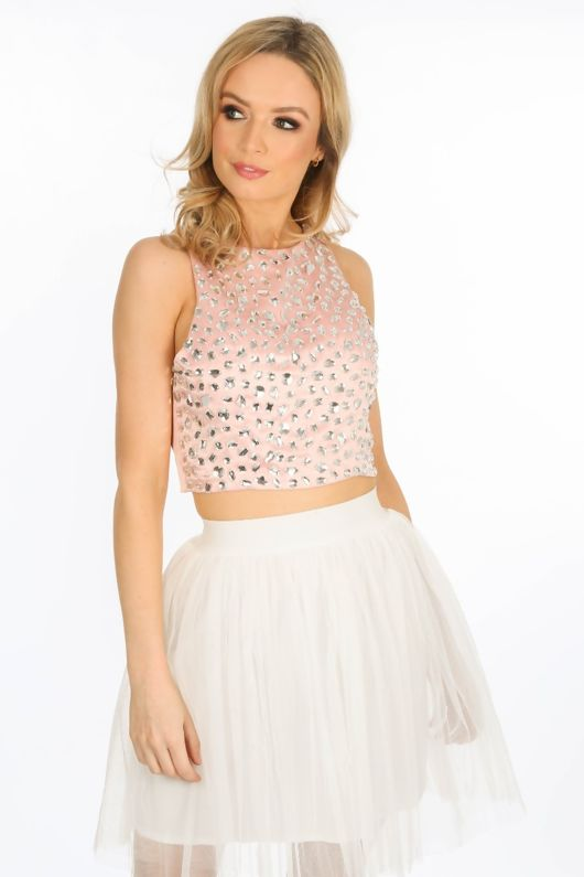 15c305117f5 Stone Embellished Front Crop Top In Pink