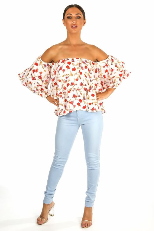 Floral Off The Shoulder Layered Chiffon Top White