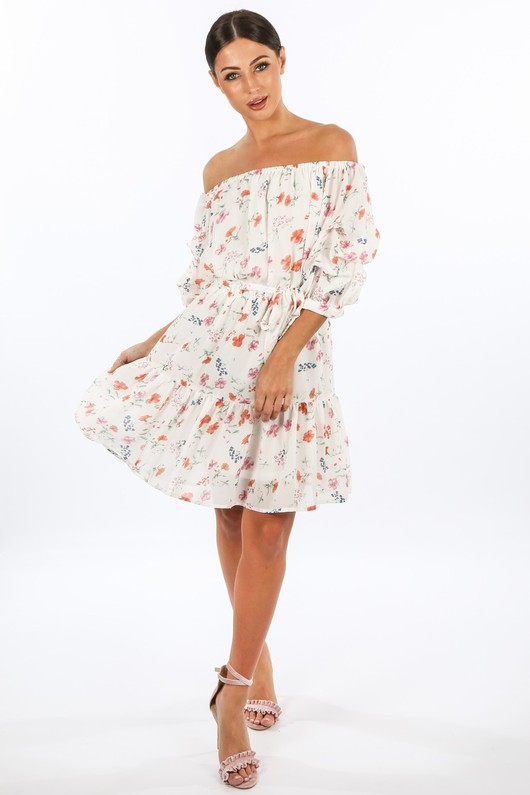 l/853/W1460-_Floral_Chiffon_Off_The_Shoulder_Day_Dress_In_White__66760.jpg