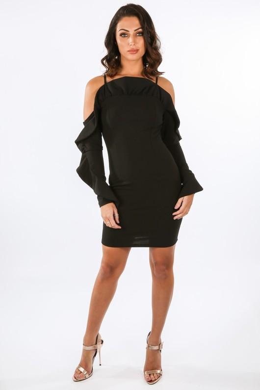 c/672/W1611-_Long_Sleeve_Cold_Shoulder_Frill_Dress_In_Black__95200.jpg
