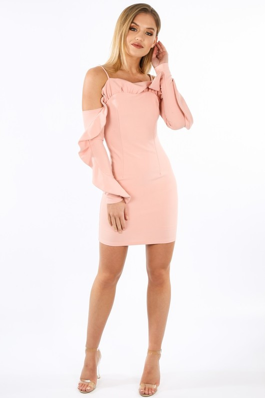 f/331/W1611-_Long_Sleeve_Cold_Shoulder_Frill_Dress_In_Pink__89290.jpg