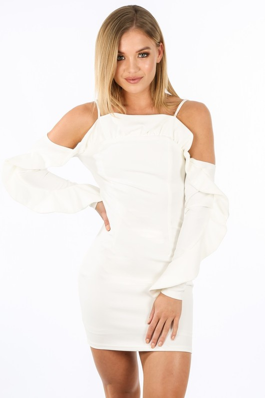 k/355/W1611-_Long_Sleeve_Cold_Shoulder_Frill_Dress_In_White-2__81603.jpg