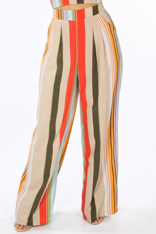 Striped Print Wide Leg Trouser In Beige