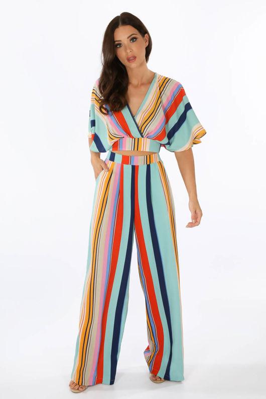 Striped Print Wide Leg Trouser In Blue