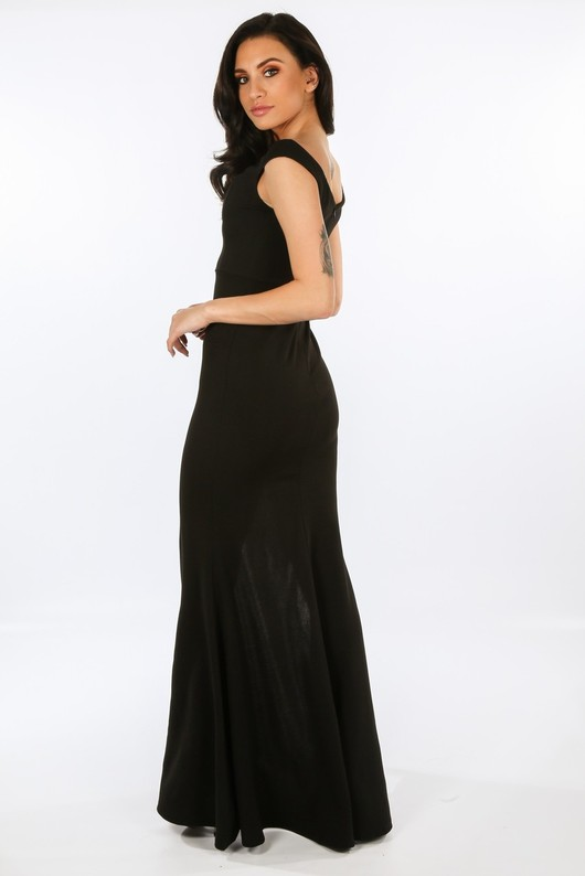 h 942 W1639- Black Bardot Maxi Dress With Front Split-2  54840.jpg 9690ae9e3