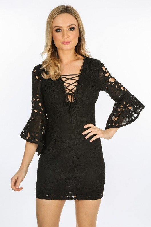 6b4fb35aaa Black Lace Up Crochet Dress With Bell Sleeves