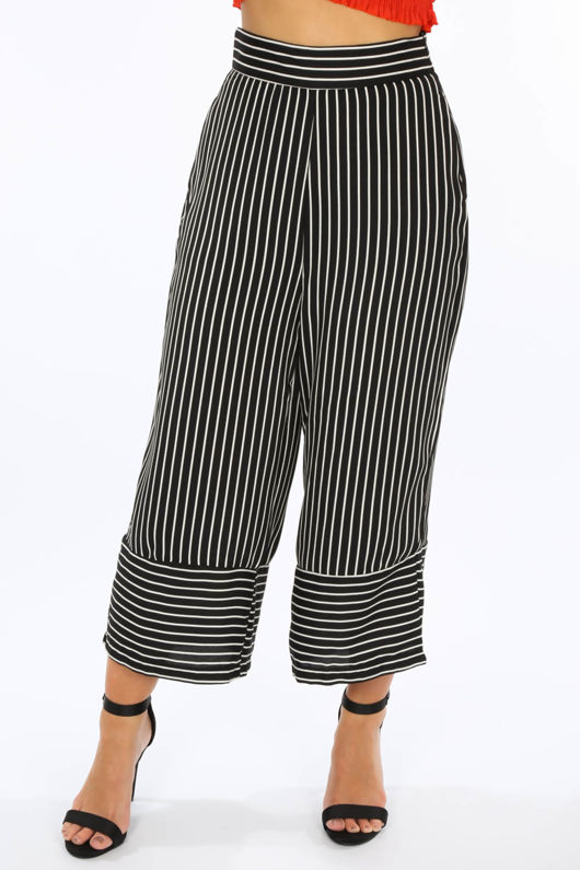 Black Monochrome Striped Culottes
