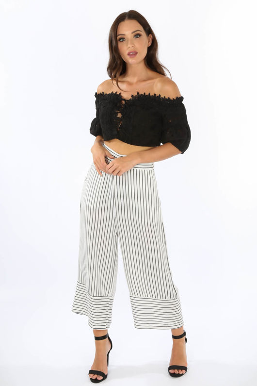 White Monochrome Striped Culottes