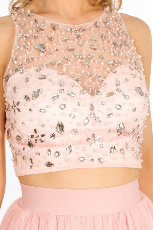 aaa3ab7eef8 Embellished Bustier Top With Mesh Overlay In Pink