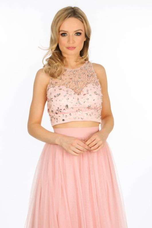 Embellished Bustier Top With Mesh Overlay In Pink
