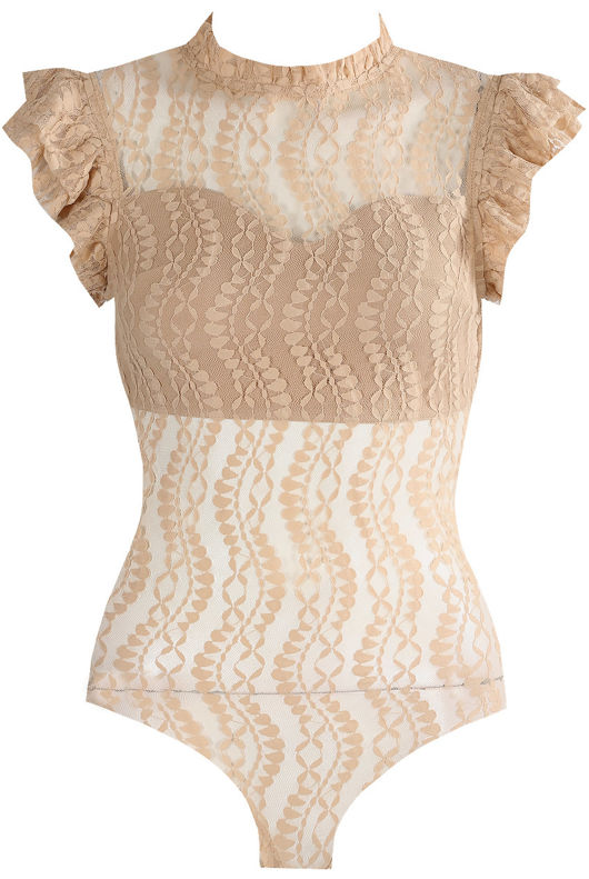 Nude High Neck Lace Bodysuit