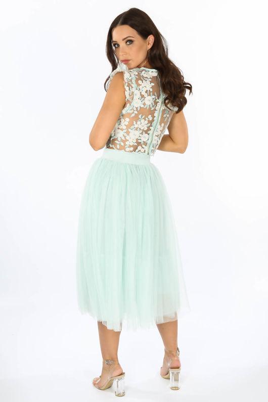 Midi Tulle Skirt In Mint