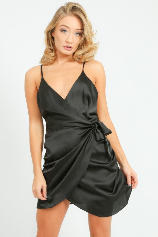 f010ec063126 Satin Mini Wrap Dress In Black