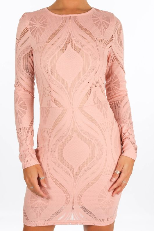 Long Sleeve Wavy Lace Bodycon Dress In Pink