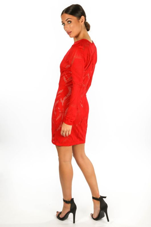 Long Sleeve Wavy Lace Bodycon Dress In Red