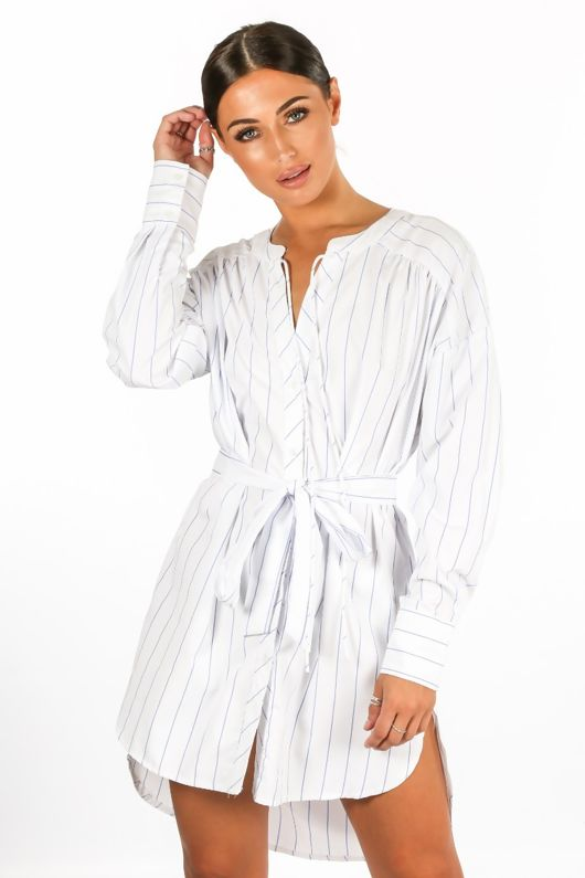 Striped Belted Shirt Dress In White