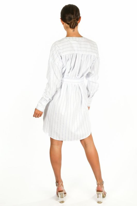 c2aca82440b Striped Belted Shirt Dress In White