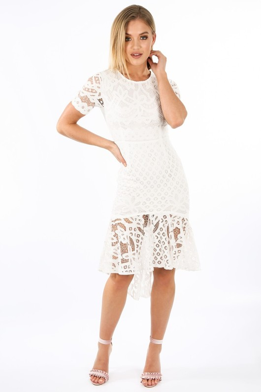 White Crochet Short Sleeve Fishtail Midi Dress