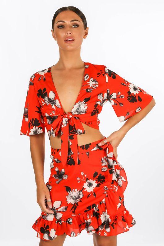Floral Tie Front Crop Top Red