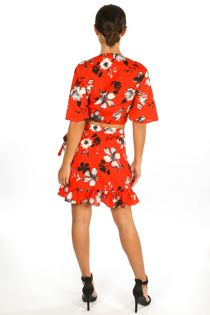 Floral Print Wrap Look Skirt In Red