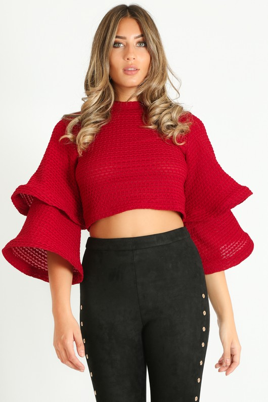 0127a8edaf92c5 c/779/Waffle_Crop_Top_With_Layered_Bell_Sleeve_In_Burgundy-2__76381.jpg