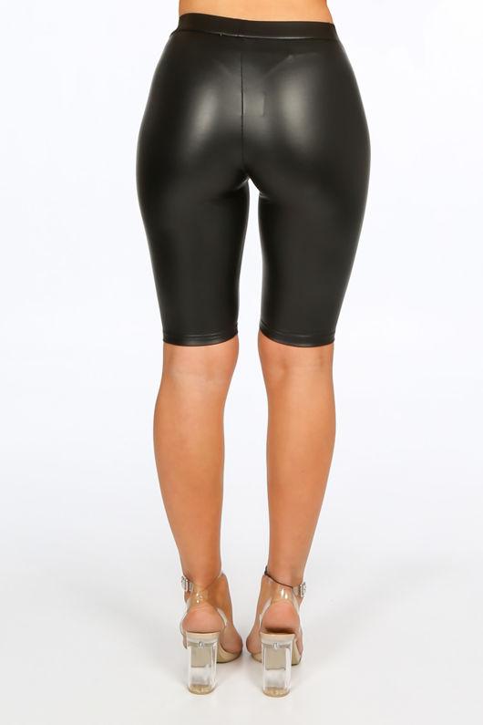 Black Wet Look Cycling Shorts