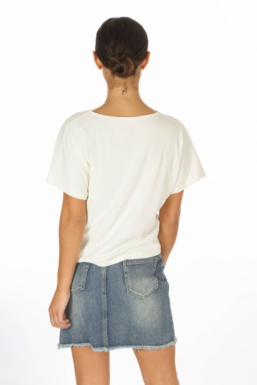 White Knot Front Jersey Top